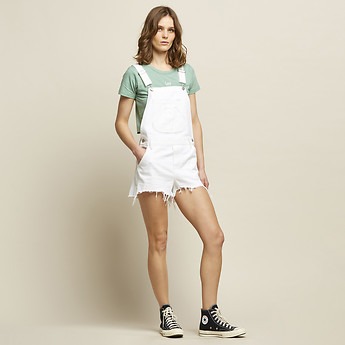 Image of Lee Jeans Australia White Trashed SHORT OVERALL WHITE & TRASHED