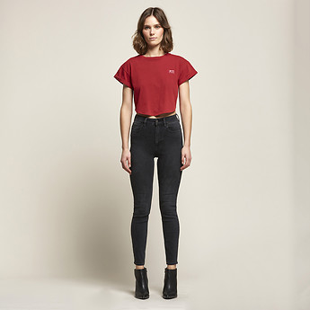 Image of Lee Jeans Australia Onyx Black HIGH LICKS CROP ONYX